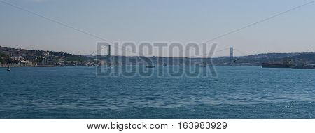 Bosphorus Bridge and Strait with Ships, as seen from the European Side of Istanbul, in Turkey