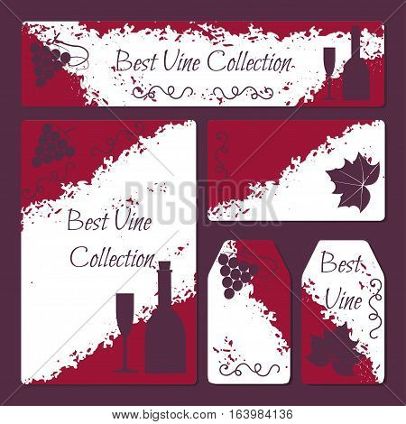 Wine flyer and cards template set with grape brunch and leaf bottle and glass icons in vintage style. Stock vector illustration for vine production company winery restaurant or bar promo ads.