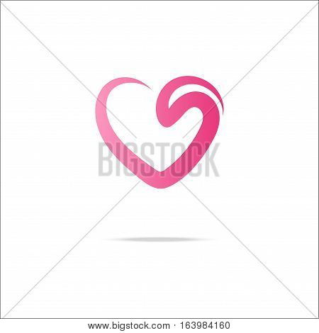 Heart gradient logo with swirl. Stock vector illustration of love emblem