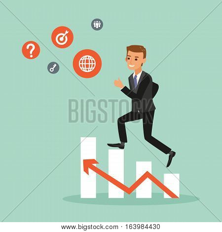 happy businessman climbing on red arrow stair chart