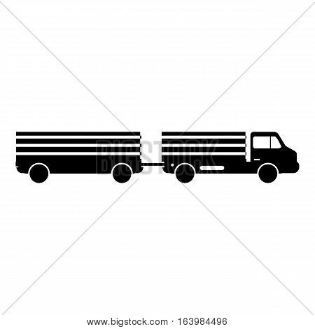 Trailer truck icon. Simple illustration of trailer truck vector icon for web