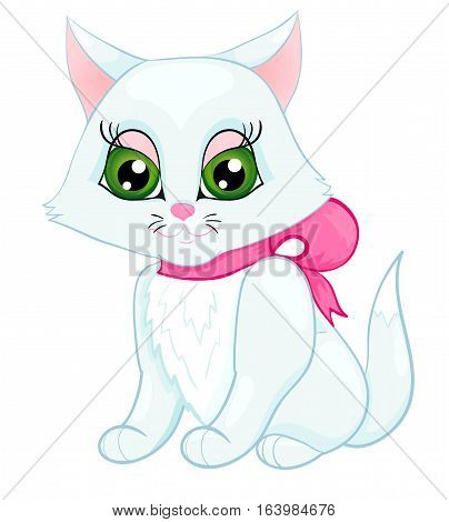 cute white kitten with a pink bow on her neck isolated on white