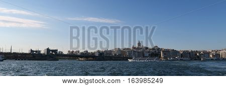 Panorama of Galata Tower, a Ship and the Golden Horn, View from Istanbuls Oldtown Sultanahmet, in Turkey