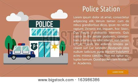 Police Station Conceptual Banner | Great flat icons with style long shadow icon and use for building, construction, public places, station, store, and much more.