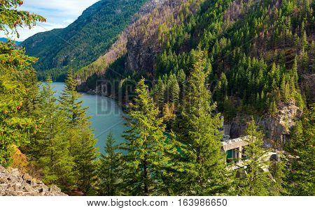 Gorge Lake behind Gorge Dam in North Cascades National Park Washington
