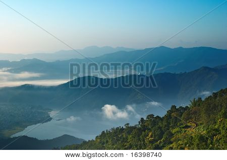Sunrise in Himalaya, Pokhara city and Fewa lake, Nepal