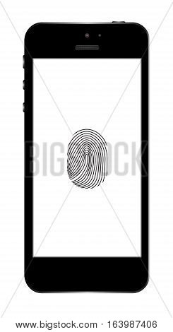 Realistic black mobile phone isolated on white background