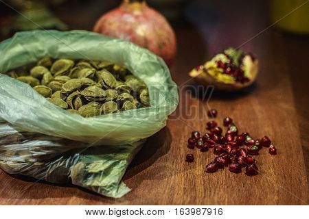 Pomegranate Fruit And Apricot Kernels