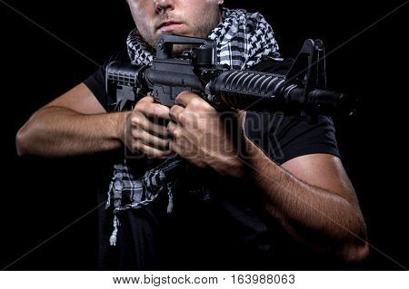 Soldier representing private military company mercenary industry of gun for hire. These commandoes are contractors working as bodyguards or combat troops.