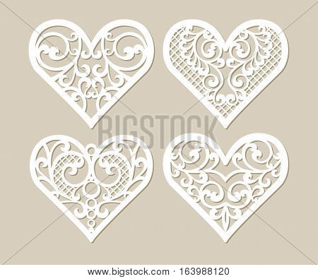 Set stencil lacy hearts with carved openwork pattern. Template for interior design layouts wedding cards invitations etc. Image suitable for laser cutting plotter cutting or printing.