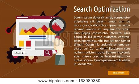 Search Optimization Conceptual Banner | Great flat icons with style long shadow icon and use for search engine optimization, development , marketing, advertising and much more.