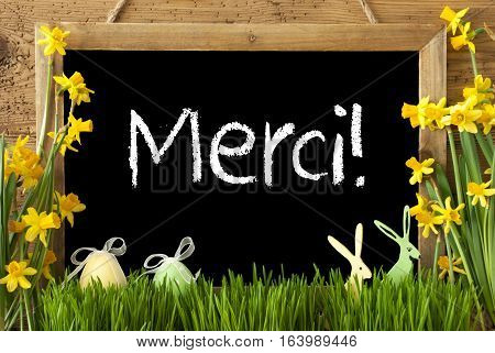 Blackboard With French Text Merci Means Thank You. Spring Flowers Nacissus Or Daffodil With Grass, Easter Egg And Bunny. Rustic Aged Wooden Background.
