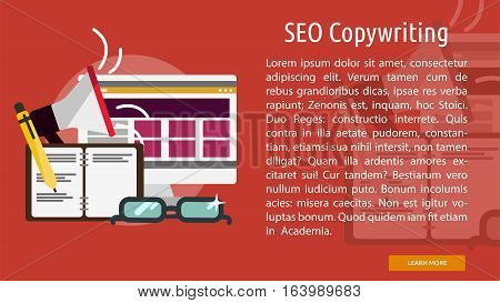 Seo Copywriting Conceptual Banner | Great flat icons with style long shadow icon and use for search engine optimization, development , marketing, advertising and much more.