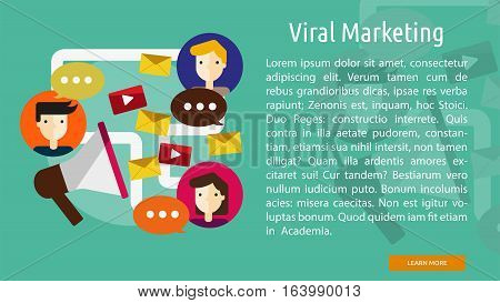 Viral Marketing Conceptual Banner | Great flat icons with style long shadow icon and use for search engine optimization, development , marketing, advertising and much more.
