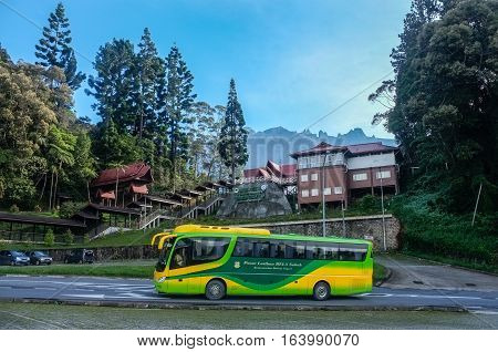 Ranau,Sabah-May 1,2014:Kinabalu Park with background of the Mount Kinabalu,Ranau,Sabah.Kinabalu Park is Malaysias first World Heritage Site & the entrance to climb the Mountain Kinabalu,