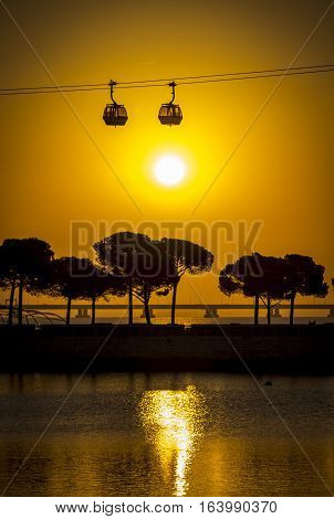 The sunset in Lisboa. Shot in Portugal