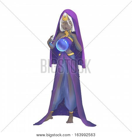 Cool Characters Series: India Girl Astrologer isolated on White Background. Video Game's Digital CG Artwork, Concept Illustration, Realistic Cartoon Style