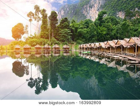 Bamboo House Resort In Ratchaprapha Dam At Khao Sok National Park, Surat Thani Province, Thailand