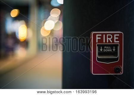 Fire alarm on the wall of shopping center