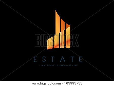 Real Estate Gold Logo Design. Golden Building Logo with Skyscrapers