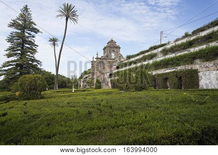 CAXIAS, PORTUGAL - October 26, 2016: General view of the french inspired Royal Gardens of Caxias with the water cascade in the background Portugal