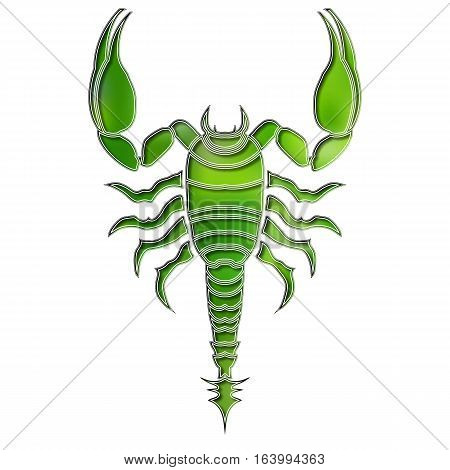 Bright colorful scorpion, zodiac Scorpio sign for astrological predestination and horoscope