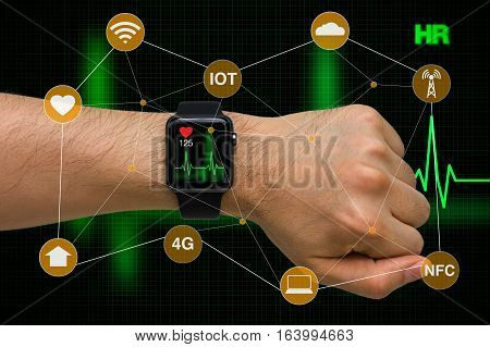 Concept of smart watch monitoring heart rate application with heart beat cardiogram.
