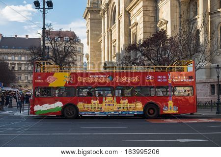 Hop On Hop Off Tourist Bus At Center Of Budapest, Hungary