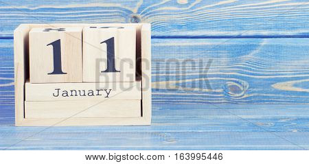 Vintage Photo, January 11Th. Date Of 11 January On Wooden Cube Calendar