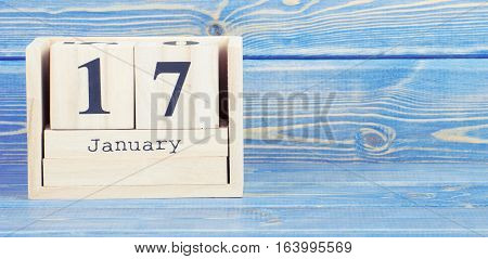 Vintage Photo, January 17Th. Date Of 17 January On Wooden Cube Calendar