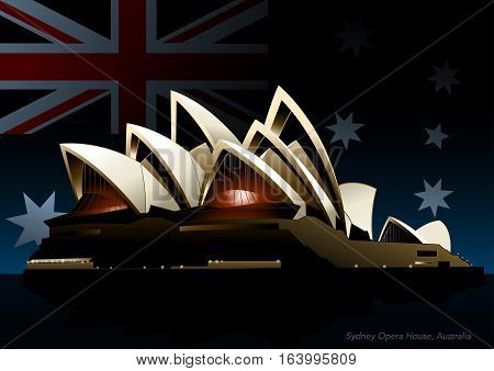 Sydney opera house at night with the Australian flag in background.