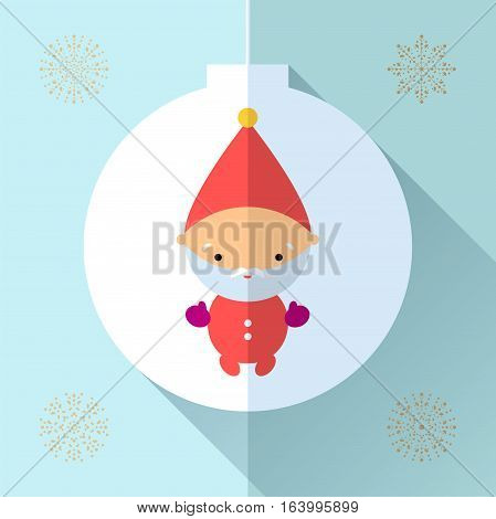 Santa claus flat icon design. Toy for children. Vector simbol for web, print and greeting card Merry Christmas.