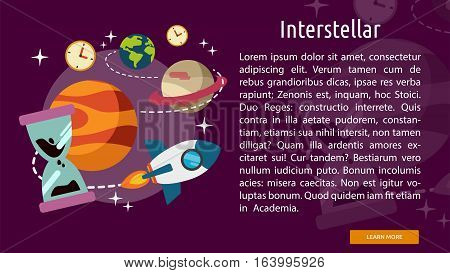 Interstellar Conceptual Banner | Great flat illustration concept icon and use for space, universe, galaxy, astrology and much more.