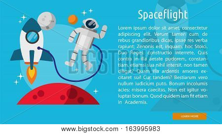 Spaceflight Conceptual Banner | Great flat illustration concept icon and use for space, universe, galaxy, astrology and much more.