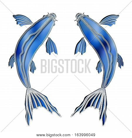 Bright colorful fishes, zodiac Pisces sign for astrological predestination and horoscope