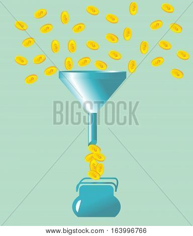 money fall into the funnel. vector illustration
