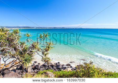 Blue water at Greenmount beach on the Gold Coast in Australia