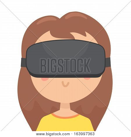 Girl in a virtual reality glasses. Close up portrait of funny cartoon girl. Vector hand drawn illustration
