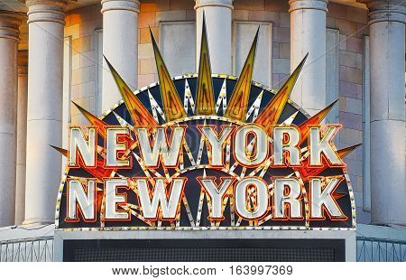 VEGAS NEVADA USA - January 11th 2016: New York New York hotel and casino sign. Part of the MGM resorts.