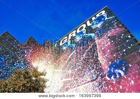 VEGAS NEVADA USA - January 11th 2016: Blue Man Group building that host their comedy theater rock concert and dance party show.