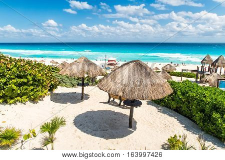 Cancun's amazing beaches on a clear sunny day