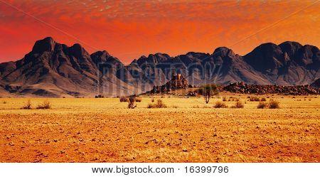 Kleurrijke zonsondergang in de Namib woestijn, Namibië