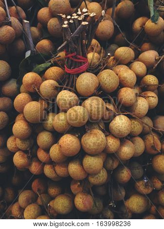 longan, tropical fruits in the market Thailand.