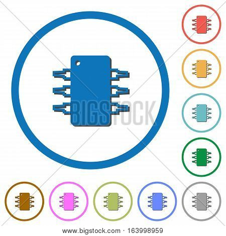 Integrated circuit flat color vector icons with shadows in round outlines on white background