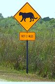 Lookout for Florida Panthers Sign in Everglades National Park. poster