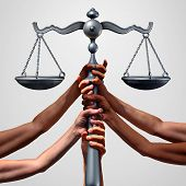 Social justice concept or class action lawsuit as a group of diverse ethnic people hands holding a court law scale as a metaphor for global equity and equality in society with 3D illustration elements. poster