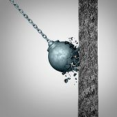Concept of fragility and strength and resistance as a failing wrecking ball breaking apart after hitting a solid cement wall as a fragile metaphor with 3D illustration elements. poster