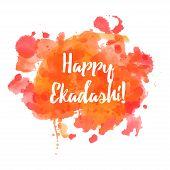 Happy Ekadashi. In Hinduism and Jainism days considered especially auspicious Ekadasi. Hindu festival celebration in India. Vector illustration background poster