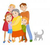 Fun cartoon family in colorful stylish clothes. Father mother children grandmother and kat all together one family poster