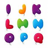 English balloon colorful alphabet on white background. Holidays and education ozone type. Greeting helium cartoon festive decoration vector illustration. poster
